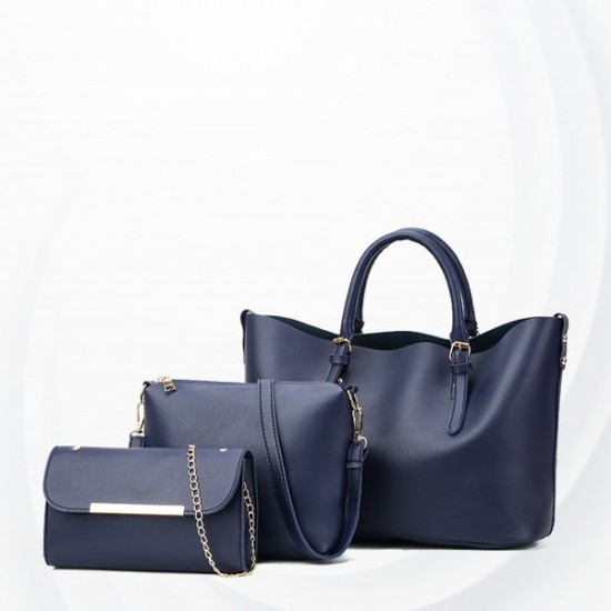 Solid Three Pieces Formal Office Handbags Set - Blue