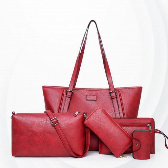 Luxurious Quality Five Pieces Formal Bags Set - Red