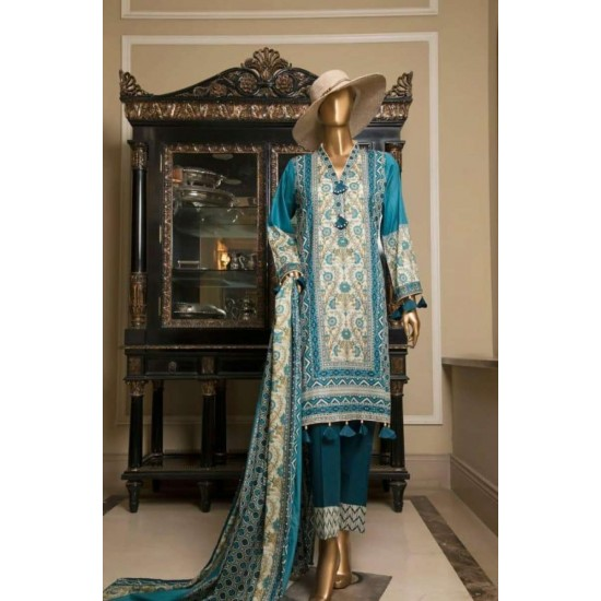 Printed Unstitched 3 Piece Lawn Suit By Bin Saeed