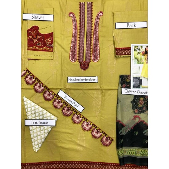 Yellow LAwn 3pc Embroided Unstitched Dress