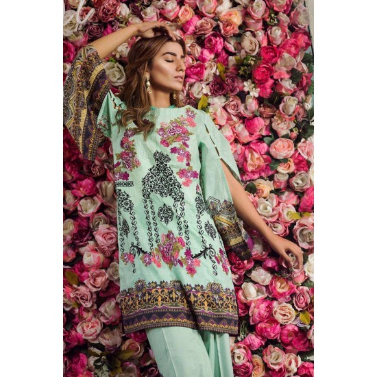 LAwn 3pc Embroided Unstitched Dress