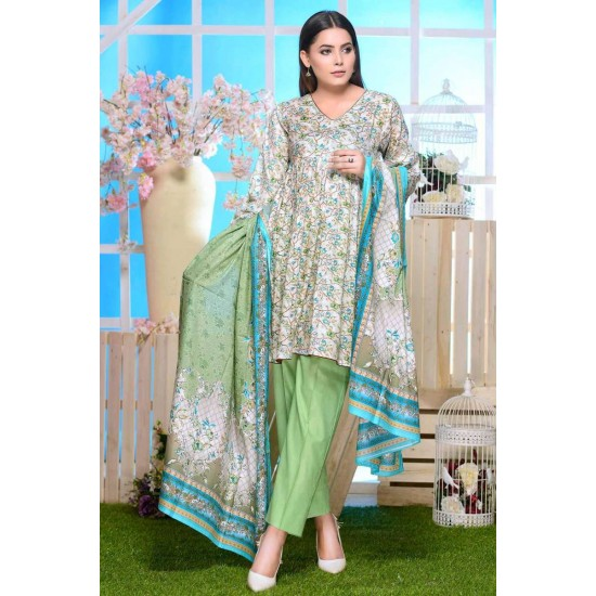 2019 Multicolor Lawn 3PC Unstitched Suit